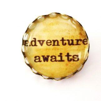 adventure awaits brooch